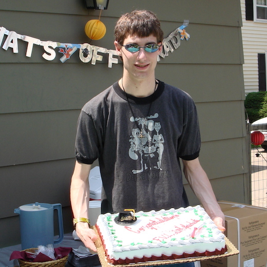 Graduation - College Boy with Cake