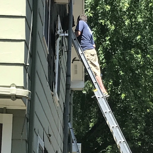Teacher on Ladder